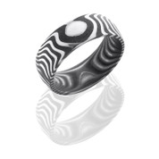 Acid Finish 8 mm Tiger Patterned Damascus Steel Domed Band