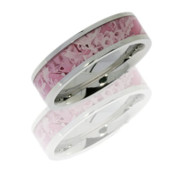 6mm Flat Cobalt Chrome Ring with 4mm Pink Camo