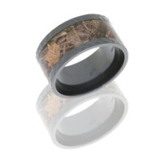 11mm Hammered Black Zirconium Flat Band with 7mm Camo