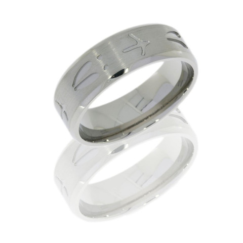 8mm Titanium Beveled Turkey/Deer Tracks Ring