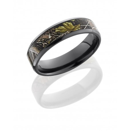 6mm Black Zirconium Beveled Ring with 4mm King's Camo