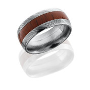 Damascus Steel 9mm Domed Band with 4mm Padauk Wood inlay