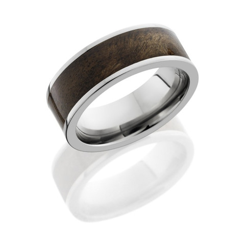 8mm Titanium Flat Band with 6mm Canxan Burl Wood