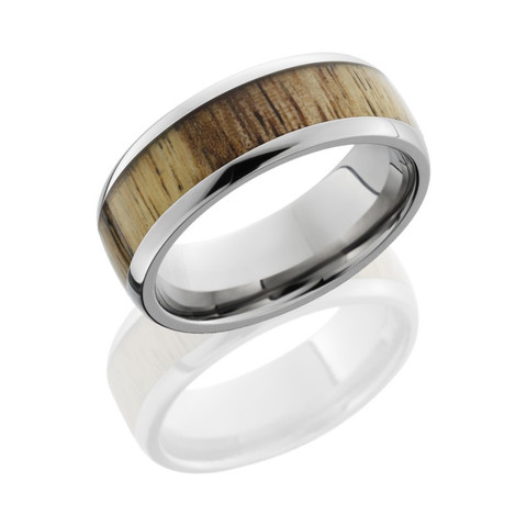 8mm Titanium Domed Band with 5mm Spalted Tamarind Wood
