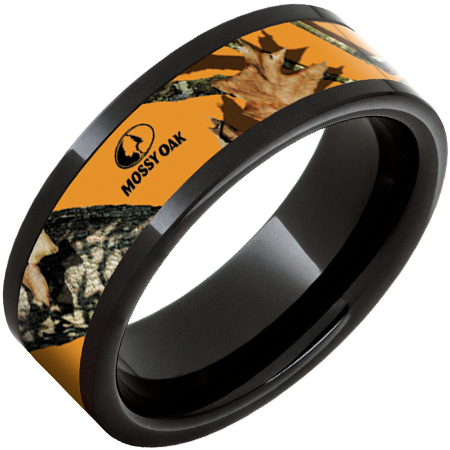 8mm Black Ceramic Pipe Cut Band with Mossy Oak Blaze Inlay
