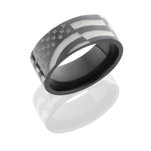 9mm Black Zirconium Flat Band with Laser Carved American Flag Pattern