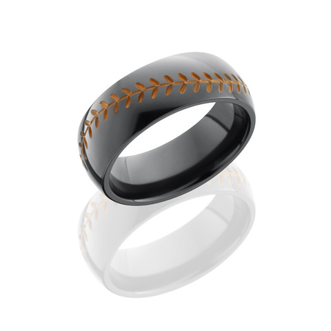 8mm Black Zirconium Domed Band with Baseball Pattern