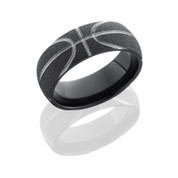 8mm Black Zirconium Basketball Ring with Stipple Finish