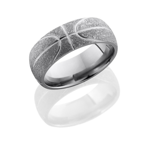 8mm Titanium Basketball Ring with Stipple Polish