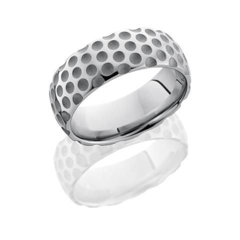 8mm Domed Cobalt Chrome Golf Ring in Sand Polish Finish