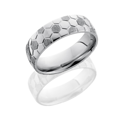 7mm Cobalt Chrome Domed Band with Soccer Ball Pattern