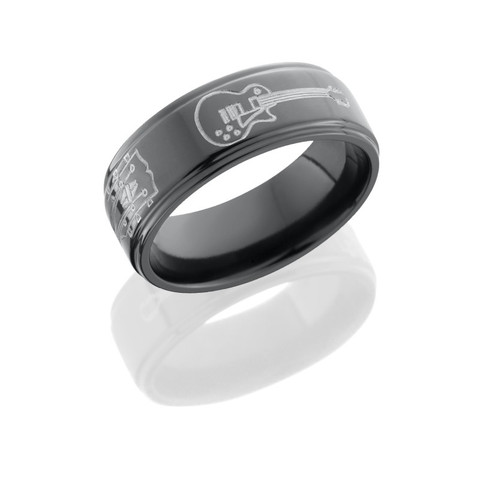 8mm Black Zirconium Guitar Ring with Grooved Edges