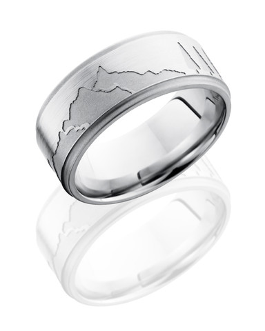 9mm Engraved Mountain Scene Ring