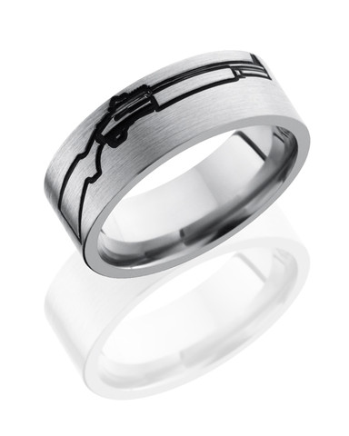 8mm Titanium Gun Wedding Ring