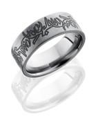 Deer Antlers Flat Titanium Ring
