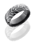 8mm Polished Black Zirconium Motorcycle Ring