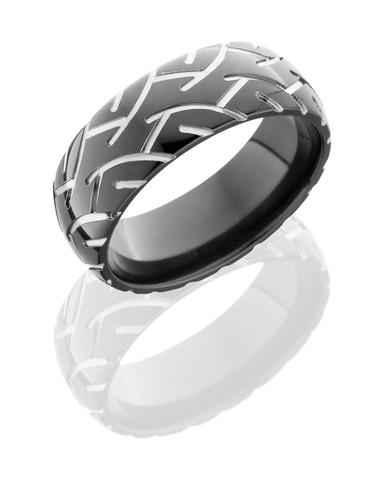 8mm Two Toned Black Zirconium Motorcycle Ring