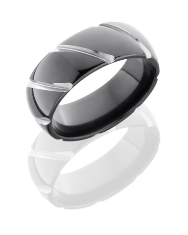8mm Domed Black Stripe Ring