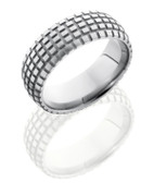 8mm Domed Satin Finish Motorcycle Trails Ring