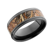 Black polished 9 mm beveled edge camo ring