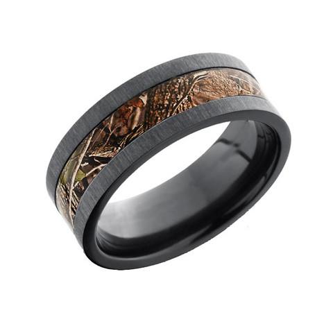 8mm cross satin Black Zirconium camo ring with flat profile