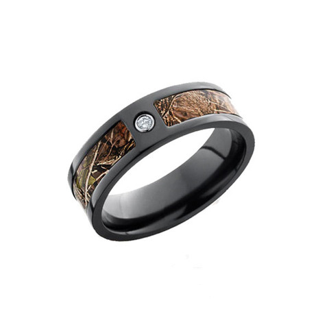 Black Zirconium camo ring with .05 bezel set diamond