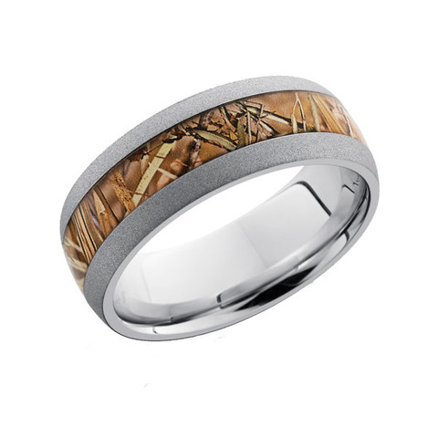 8 mm Titanium camo ring with sandblasted edge