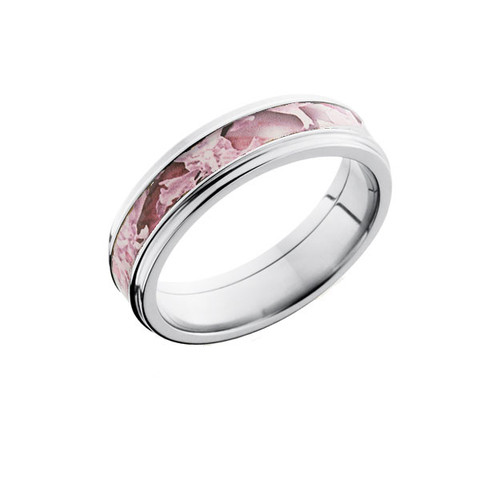 6mm Pink Camo Ring with Narrow Decorative Edge