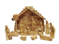 Olive Wood Nativity Set With Stable. Medium Modern Design (14 Pieces Set)