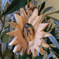 Olive Wood 3-D Pointed Star Nativity Ornament small
