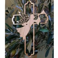 Olive Wood Angel Cross