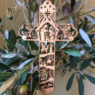 Olive Wood Nativity Cross