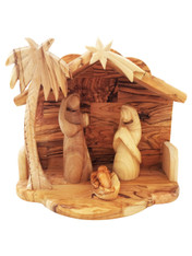 Modern Bethlehem Olive Wood Nativity Set