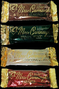 You get one each of all 4 of our Candy Bars--Mindy Mint, White Chocolate Almond, Dark Chocolate and Caramel. Perfect for sharing or giving as a gift!