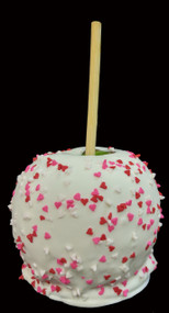 Valentine Caramel Apple With White Chocolate and Sprinkles