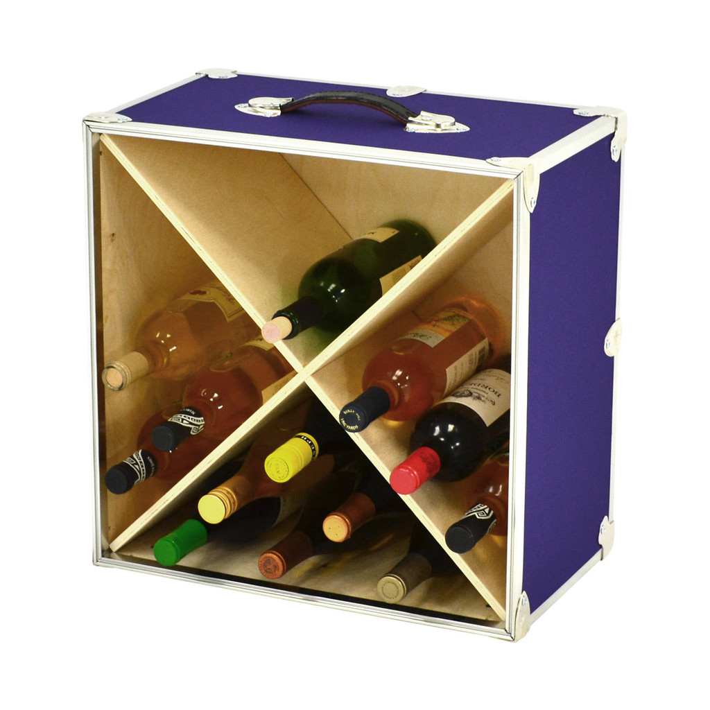 Rhino Wine Trunk in Armor purple with bottles.