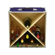 Rhino Wine Trunk in Armor purple with bottles front.