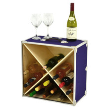 Rhino Wine Trunk in Armor purple with bottles and glasses.