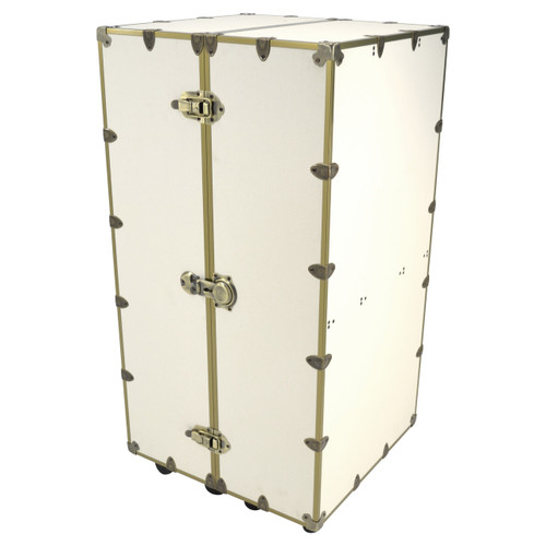 Rhino Urban Wardrobe Trunk with a white linen exterior and brass hardware front view
