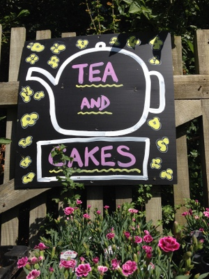 tea and cakes sign in the nursery
