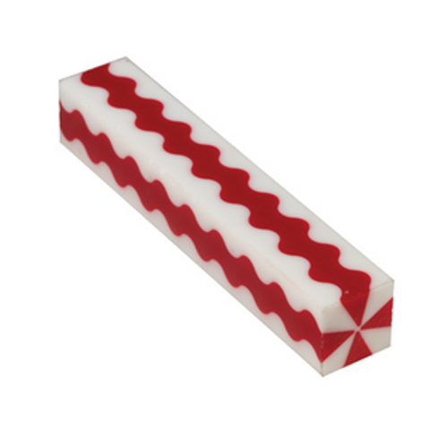 WXPABB  Wavy Red and White Stripes 3/4 in.x 5 in. PATRIOTIC Pen Blank