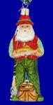 "Fly Fishing Santa Glass Ornament, 5 1/2"", OWC #40209"
