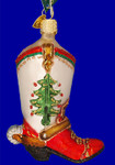 "Christmas Cowboy Boot Glass Ornament, 4 1/8"", OWC #32159"