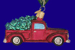 """Old Truck with Tree Glass Ornament, 4 1/8"""", OWC #46029"""