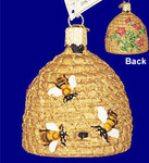 "Bee Skep Glass Ornament, 2 3/4"", OWC #12391"