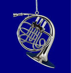 "Mini French Horn Ornament - Silver Metal, 3"" Small #BG5281"