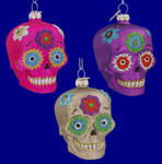 "Skull Day of the Dead Ornaments, 3"", #MW540626"