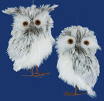 "Fluffy Gray Owl Ornaments - Decor - 2 pc Set, 4 3/4"", #KAC2225"