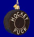 "Hockey Puck Glass Ornament, 3 1/8"", OWC #44048"