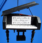 "Mini Grand Piano Ornament - Wood, 3"" - Black #BG2277"